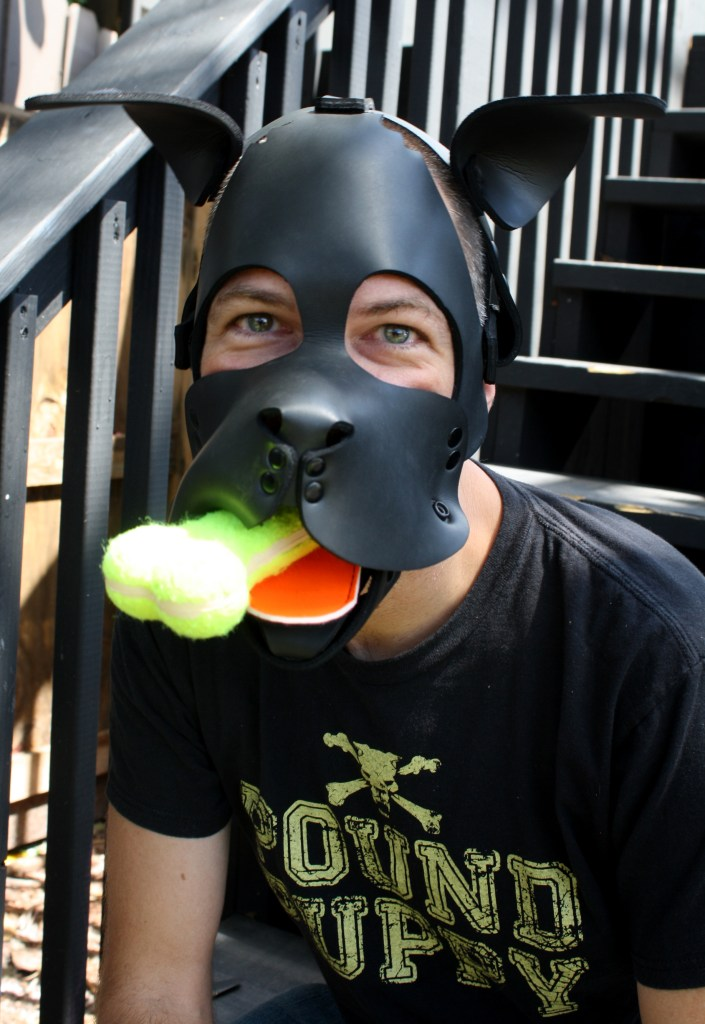 "Human pup with all-black neoprene hood and orange tongue. A chew toy sticks out of the muzzle, bone-shaped and made of tennis-ball material. The pup wears a ""Pound Puppy"" T-shirt and is sitting (like a good boy) on stairs."