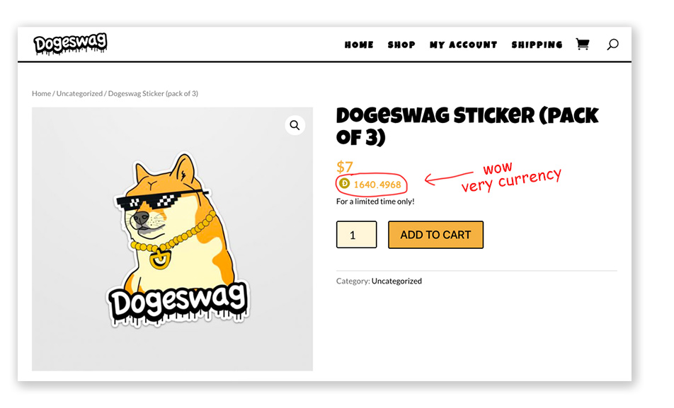 Dogecoin conversion is showing on the product page