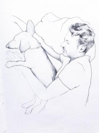 Boceto de nosotros durmiendo la siesta, creado por Martina Billi.