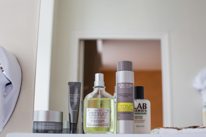 Parte de mi ritual: tratamientos SHISEIDO, after shave LAB SERIES y colonia L´OCCITANE.