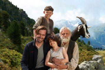 El director Alain Gsponer, Quirin Agrippi (Geissenpeter), Bruno Ganz (Almöhi) y Anuk Steffen (Heidi). Foto: Walter Wehner.