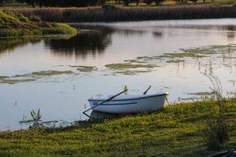 Barca disponible para remar por la laguna.
