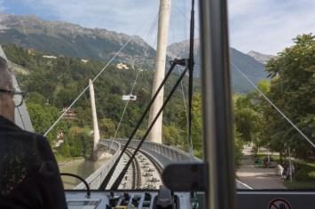 En el moderno funicular de Nordkettenbahnen.