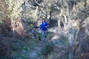 Corriendo con Eros cerca de nuestra cabaña.
