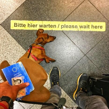 Con el pasaporte de Eros y mi DNI, esperando a ser atendidos en facturación.