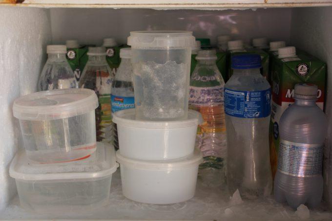 Congelador con recipientes de agua para mantener fresca el agua de los perros.