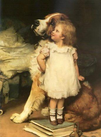 'I am higher!', pintura llena de ternura. La niña quiere demostrar, subida a unos libros, que es más alta que su mejor amigo.