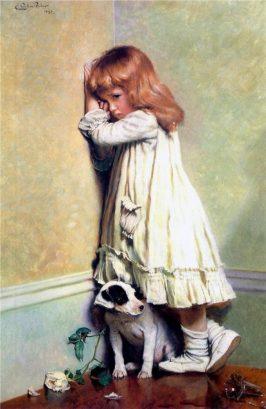 La misma niña y escena que vemos en 'A Special Pleader' está en 'In Disgrace' 1885.