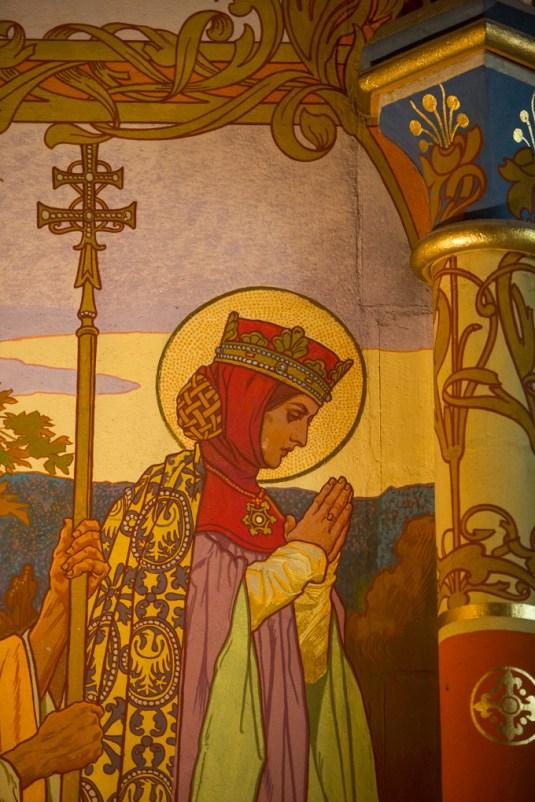 Detalles de las pinturas de la capilla.