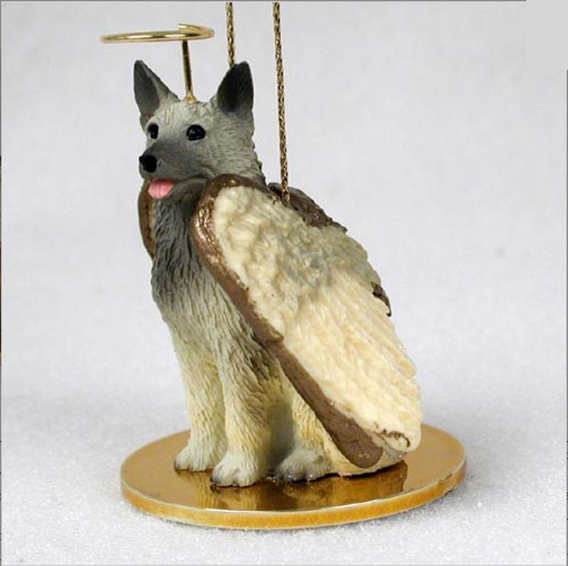 Norwegian Elkhound Dog Figurine Ornament Angel Statue Hand