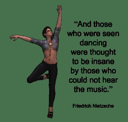 dancing insane woman