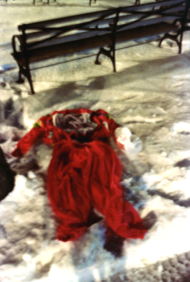 discarded red jumpsuit. marci park brooklyn