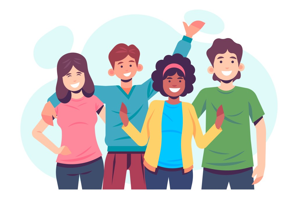 a vector drawing of a group of people smiling