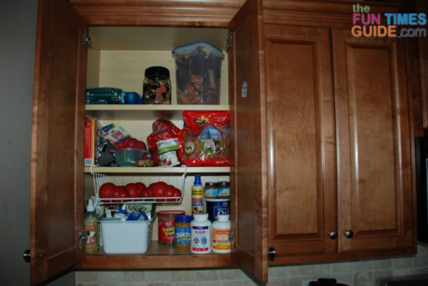 kitchen dog food storage ideas: see how this organized pet mom