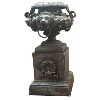 Cast Iron Lion Urn