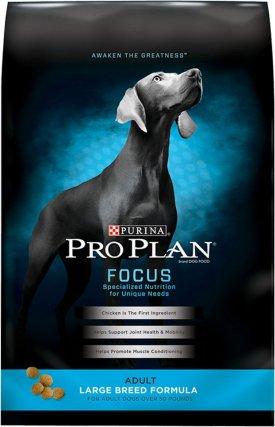 bag of purina pro plan focus adult dog food