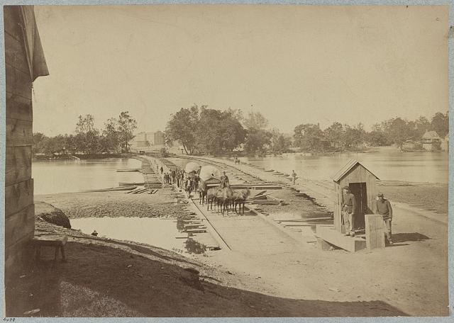 Pontoon bridges across James River at Richmond, Va., April, 1865