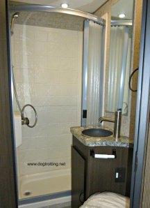 bathroom in the Orion motor home dogtrotting.net