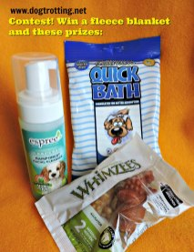 contest prizes: quick bath wipes, dog facial cleanser and whimzees
