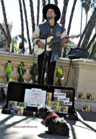 dog with musician Balboa Park, San Diego, California