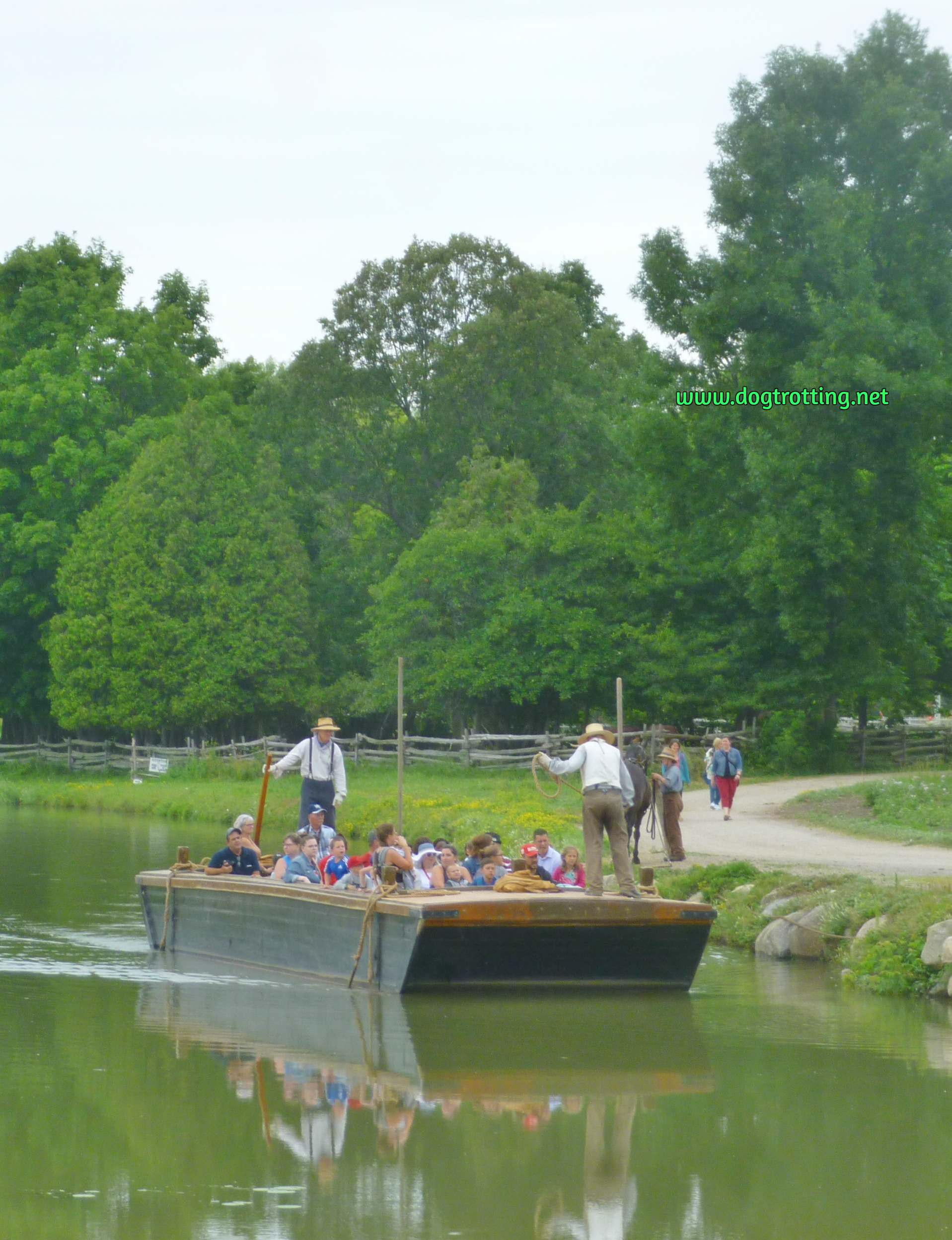 horse-drawn barge at dog-friendly Upper Canada Village