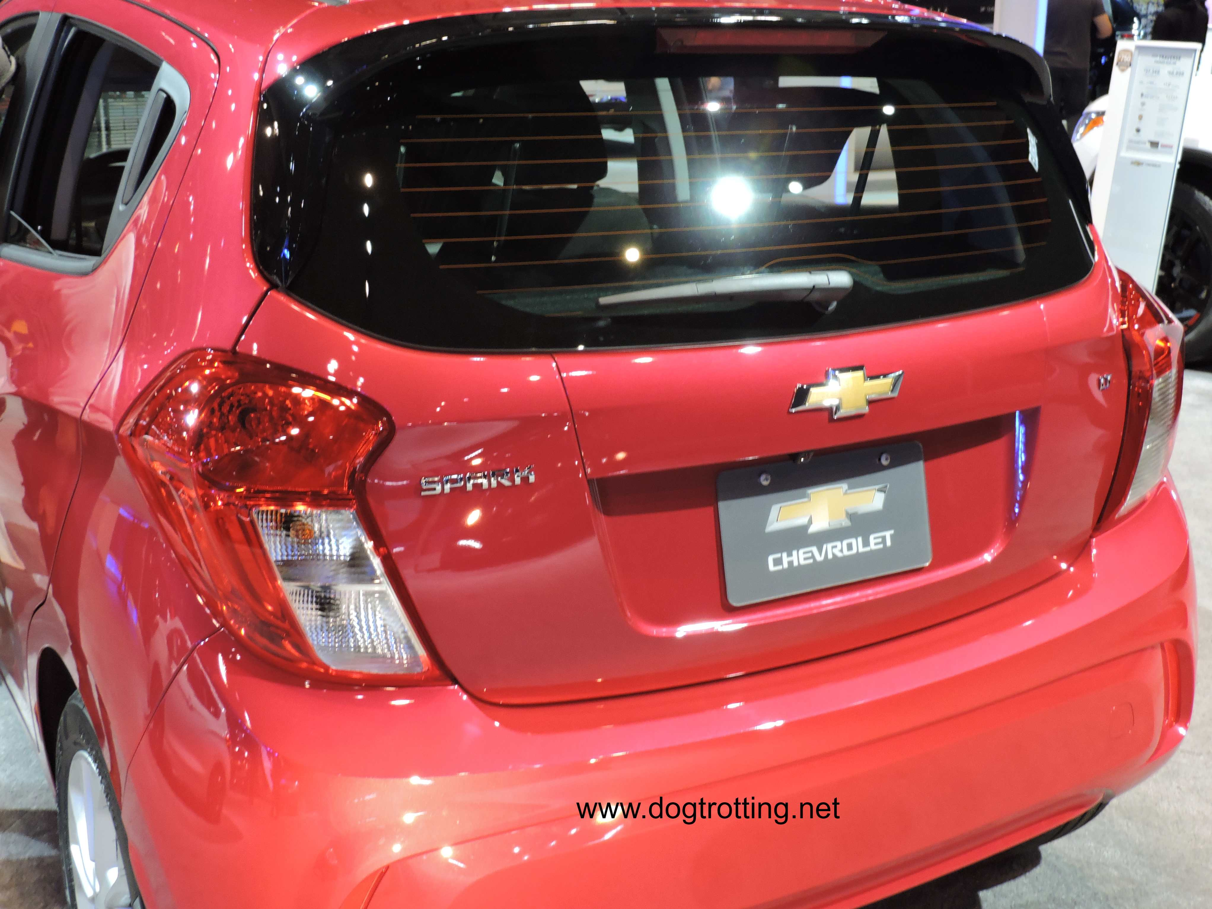 red spark car at auto show