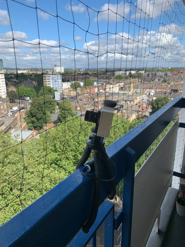 View of camera mounted to balcony