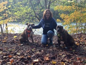 Amy Johns with her dogs