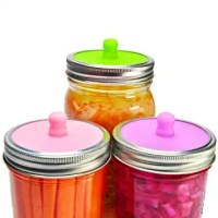 Amazon.com: 6-Pack Waterless Airlock Fermentation Lids for Wide Mouth Mason Jars, Mold Free, Food-Grade Silicone Easy Fermenting Lids for Sauerkraut, Kimchi, Pickles or Any Fermented Probiotic Food (3 Colors): Kitchen & Dining