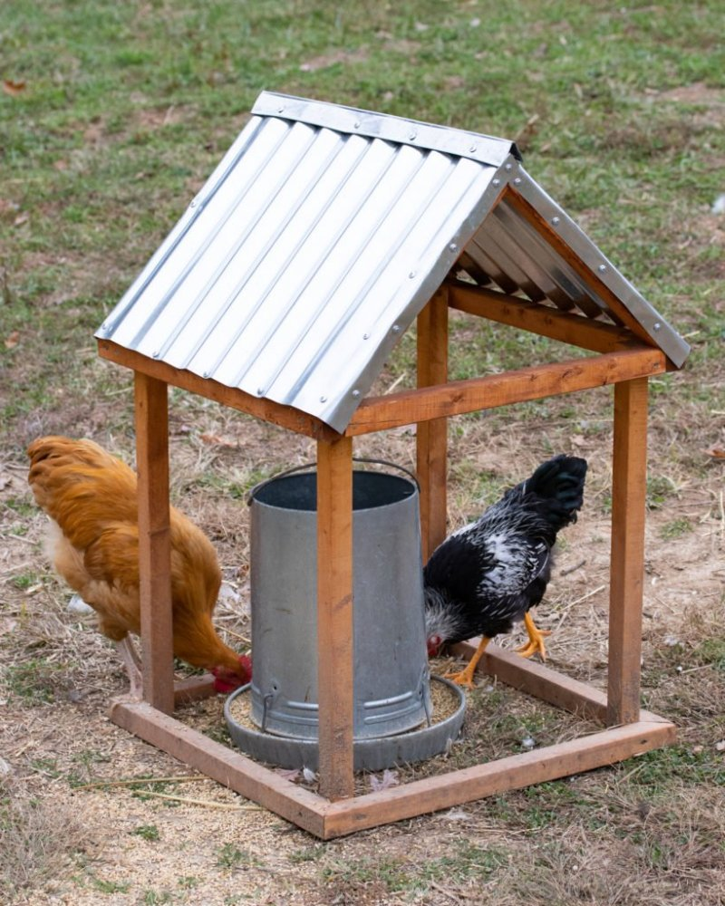 how to make a chicken feeder shelter