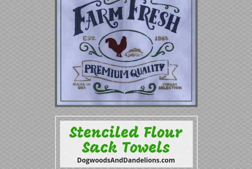 Farm fresh stenciled tea towel for Christmas