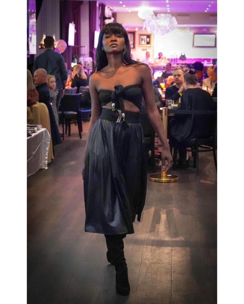 Rahil in Irene's leather collection! Such a fun fashion show