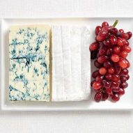 Blue cheese, brie cheese and grapes