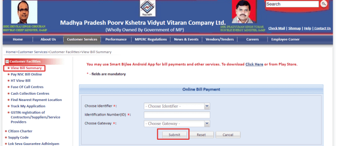 Electricity Bill Online Check MP