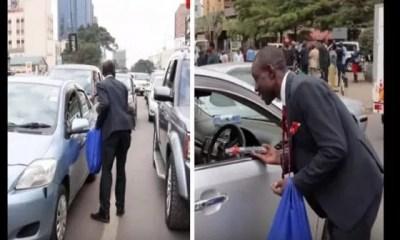 Kenya,un Banquier ,démissionne,vendre ,crayons Dans La Rue,vidéo