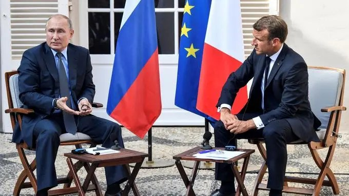 French President Emmanuel Macron Meets With Russia's President Vladimir Putin, At His Summer Retreat Of The Bregancon Fortress On The Mediterranean Coast, Near The Village Of Bormes Les Mimosas
