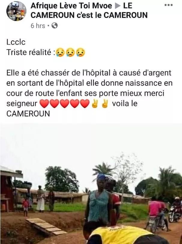 title Cameroun: chassée de l'hôpital parce qu'elle n'avait pas d'argent, elle a accouché sur la route