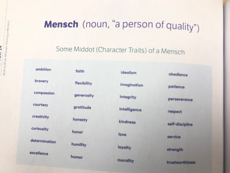 Qualities of a mensch