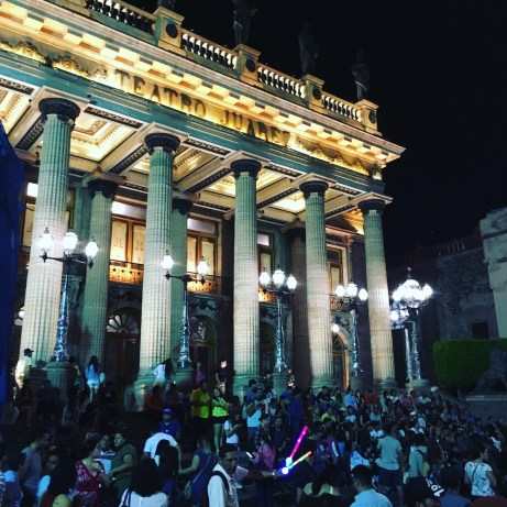 Teatro Juarez lights up at night
