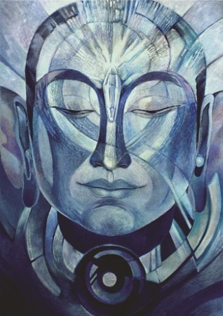 "Painting of Buddha in blue hues, titled ""Crystal Buddha"""