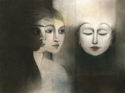 """Painting of three women's faces in black and white, titled """"Emergence:"""