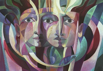 "Cubist painting of three faces in greens, blues, and purples. Titled ""Of an Ancient Civilization"""