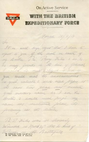 George Fisher letter, page 1