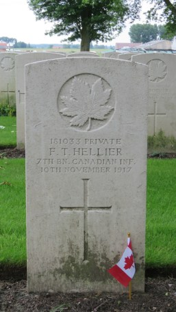 Nanaimo-born Pte. F.T. Hellier whose grave lies in Vlamertinghe New Military Cemetery