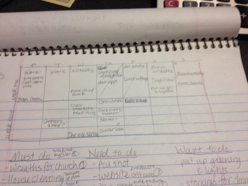 Planning page from Janice Campbell's notebook.