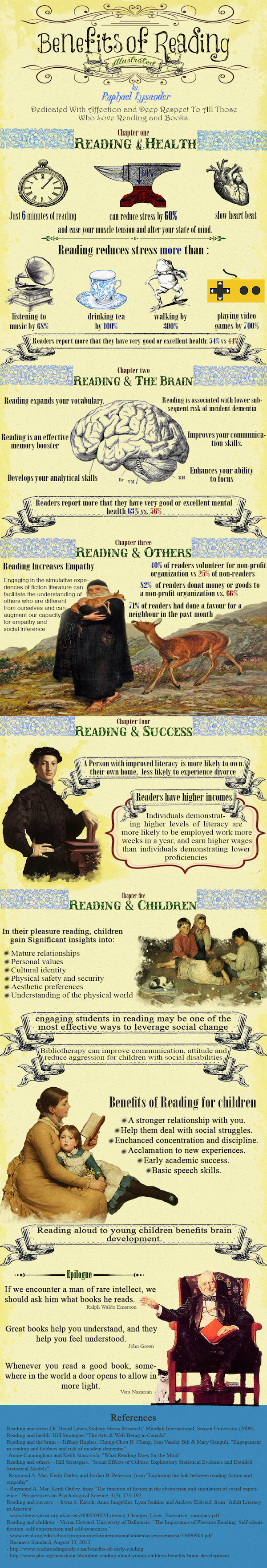 The benefits of reading can be intellectual, social, and spiritual.
