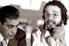 Juca Kfouri e Oswaldo Brandão no evento comemorativo dos 10 anos da revista Placar.