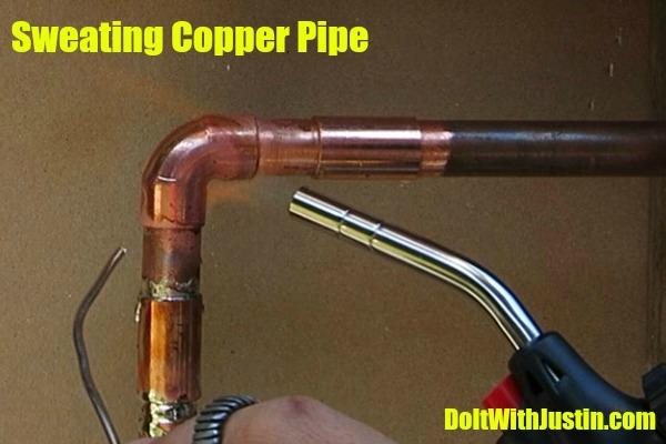 Sweating copper pipe in your wall do it with justin for How to plumb copper pipe