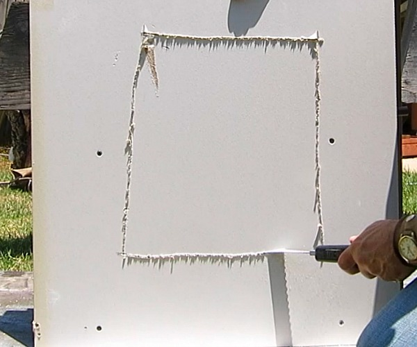 cutting drywall