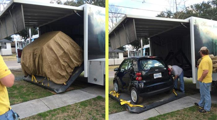 HDT Truck RV Car Storage: Unique Way To Take A Car Along